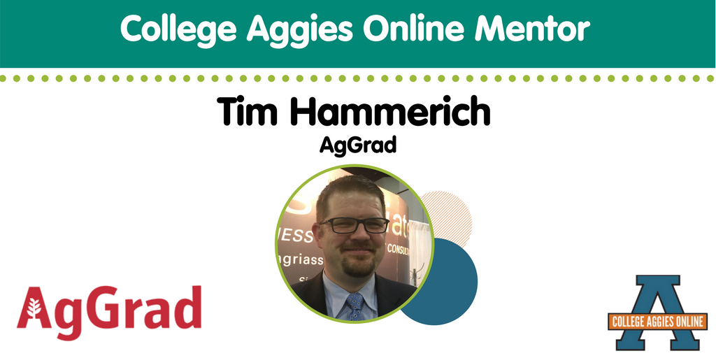 We have @timhammerich from @AgGradNation as your Week 9 College Aggies Online mentor! #CAO17 <br>http://pic.twitter.com/2GgcotfCT0