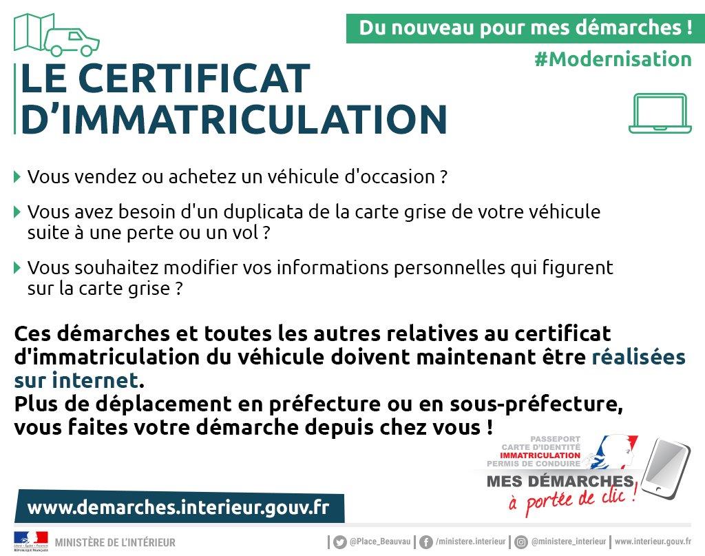 ministre de lintrieur on twitter a partir daujourdhui les dmarches dimmatriculation de votre vhicule se font uniquement sur internet