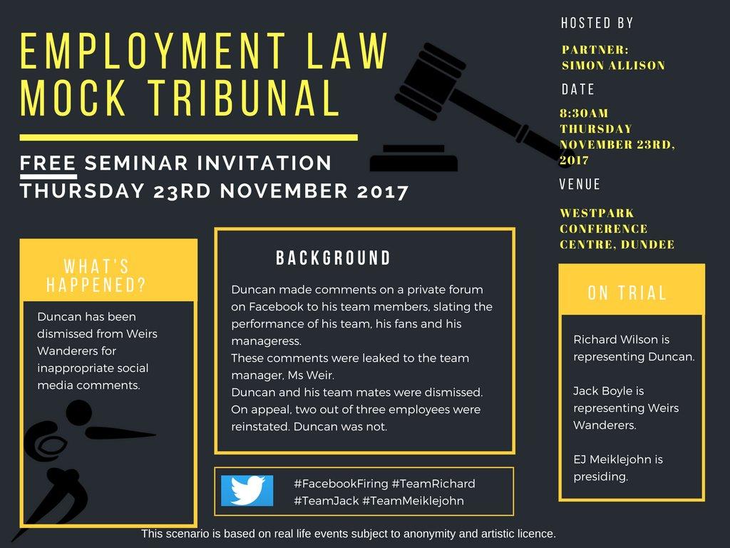 Blackadders On Twitter Employment Law Free Mock Tribunal