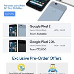 #Pixel2 Preorder begins in 5min from now (12am) with launch day offers @Flipkart 50% buyback value Free Seinheisser  https://t.co/JVJAjZ5QUj