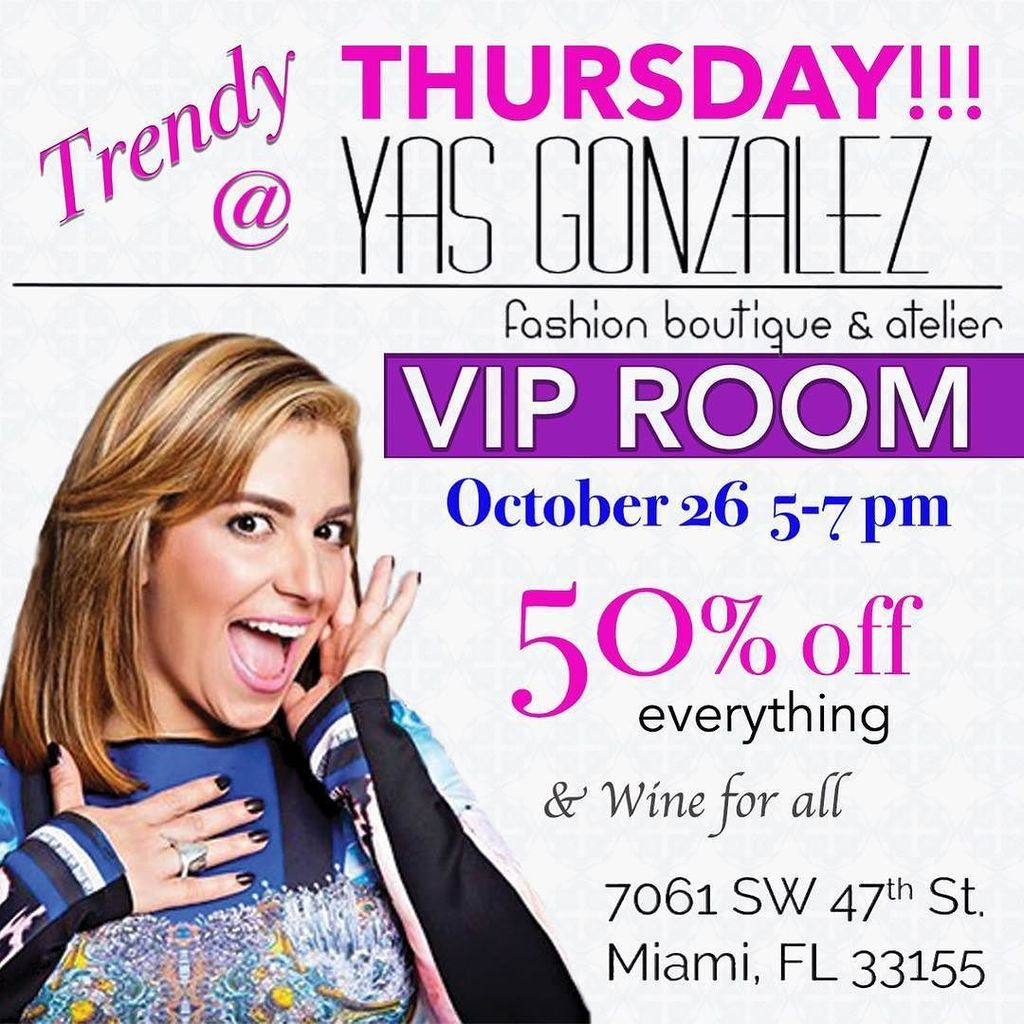 See you all tomorrow with some champagne and 50%OFF entire store!  go by after work and enjoy our happy hour #miamiboutique #happyhour …<br>http://pic.twitter.com/Pkk9eXpOQj