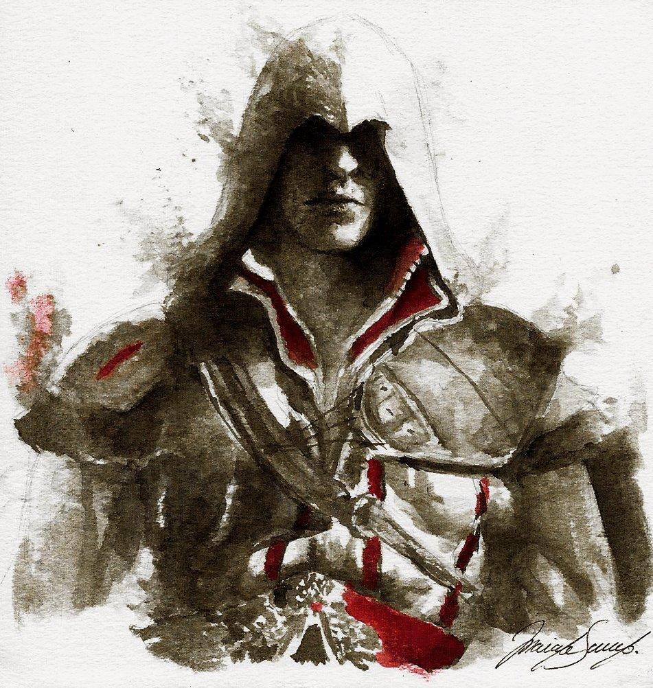 Mariana Samano On Twitter Ink Drawing Of Ezio Auditore