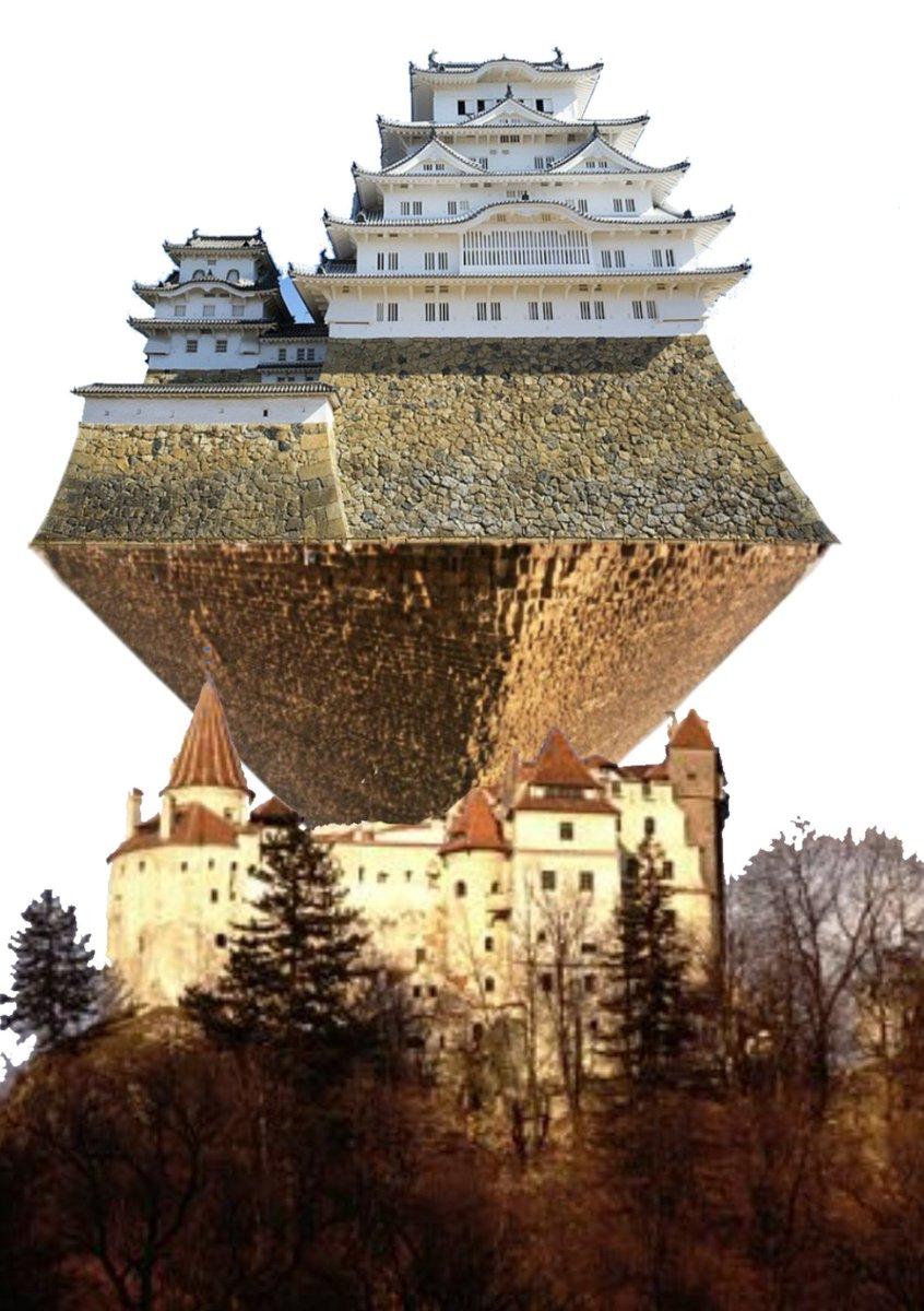 今年のFGOのハロウィンイベの  チェイテ城にピラミッドがぶっ刺さってその上に姫路城が生えた。  のがどんな感じなのか死ぬほど雑なクソコラ作ったらヤバかった