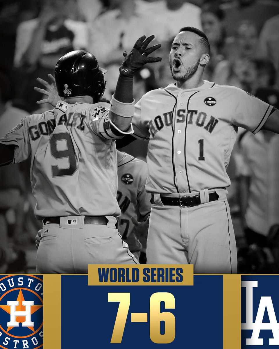 A World Series game for the ages.  Astros even the series!