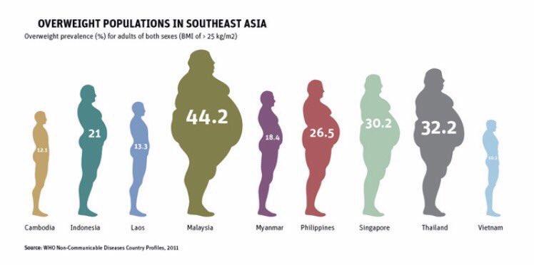 Bila masyarakat kita nak sedar? Malaysians yang paling gemok di Asia Tenggara.