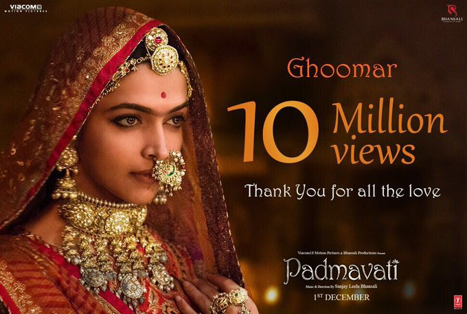 Overjoyed & Grateful!!!Thank you all so much for the love!!!🙏 #Ghoomar @FilmPadmavati https://t.co/BEnJrn2Ji0