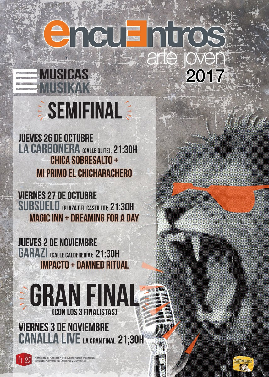 Esta tarde pimera semifinal de #Músicas en #EncuentrosArteJoven2017!! A las 21:30 en La Carbonera!! No te lo pierdas! ;)