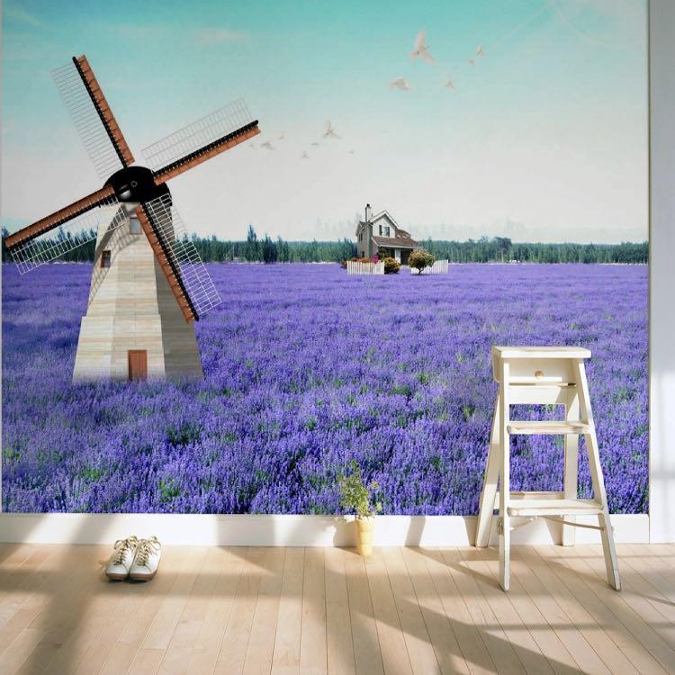 Ветряная мельница лаванда прованс в фотобанке