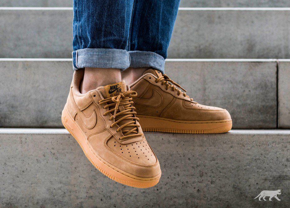 wheat air force ones on feet