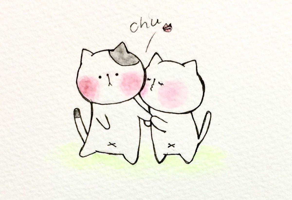 """おこにゃん on twitter: """"不意打ちゅう💋 #不意打ち #ちゅう #キス"""