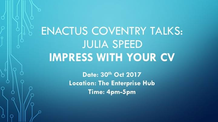 We are holding our second Enactus Talk @covcampus! Feel free to come along and start building your dream!  #marketing #today