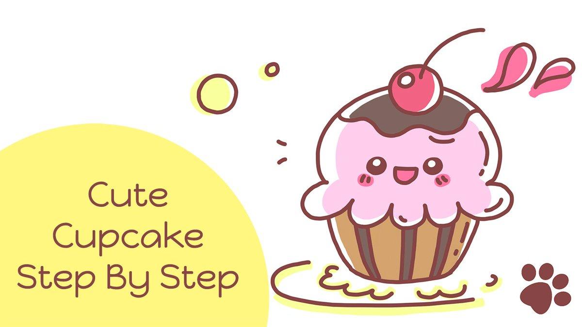 Letsdrawmeow On Twitter How To Draw A Cute Cupcake Cute Cartoon