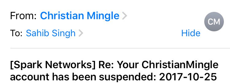 Christian mingle account suspended