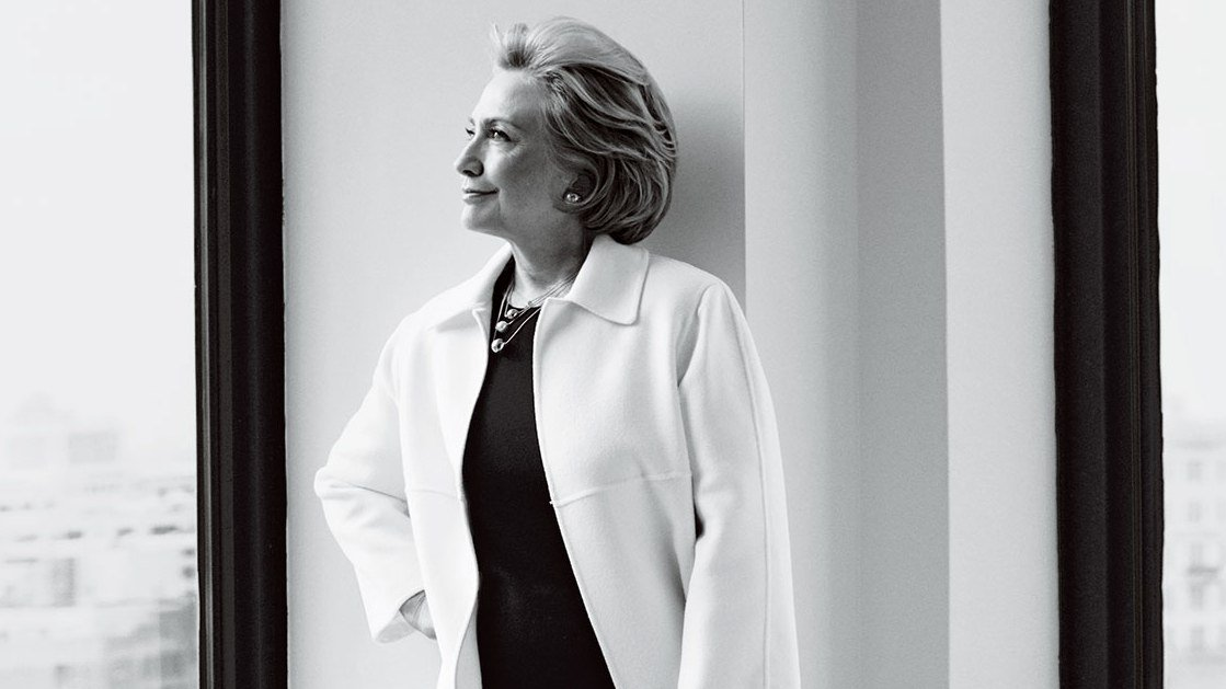 A black and white photography of Hillary Clinton