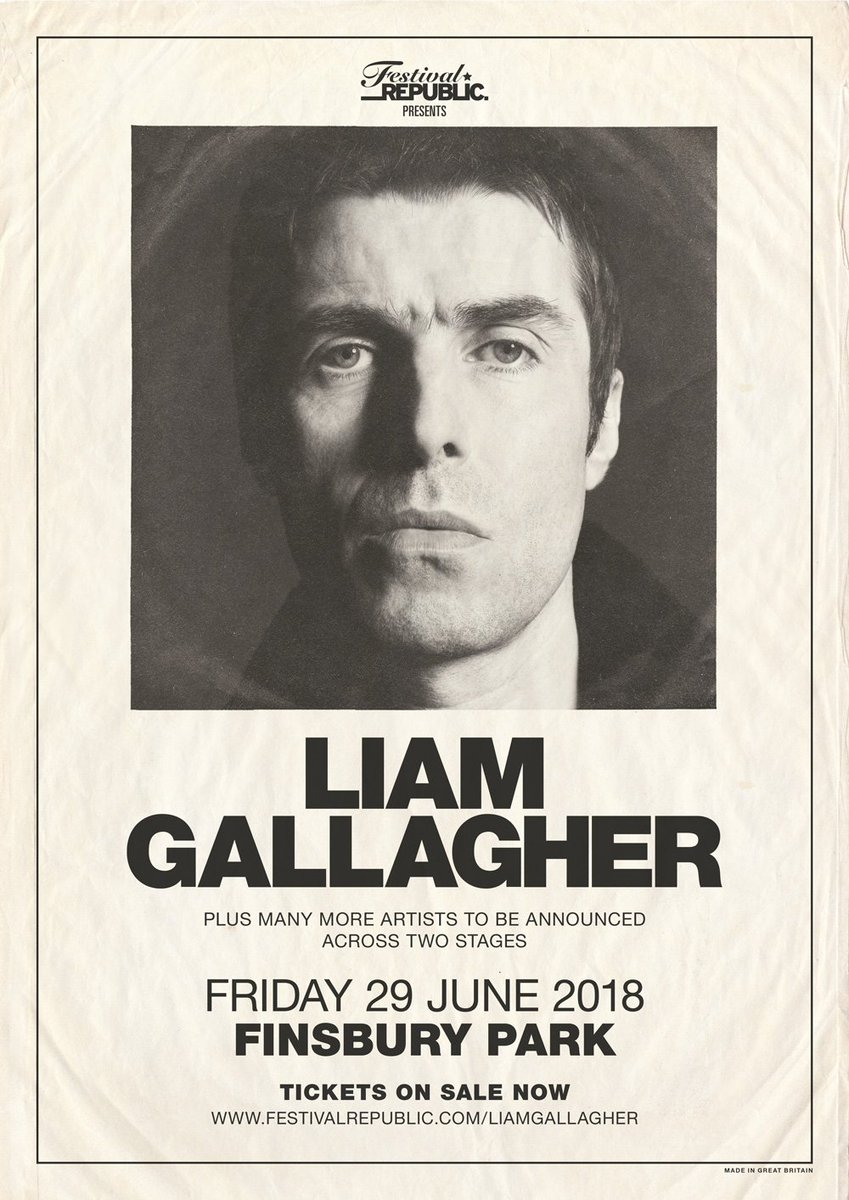 Liam Gallagher's headline show at London's Finsbury Park is on sale now. Get tickets at: liam-gallagher.frontgatetickets.com