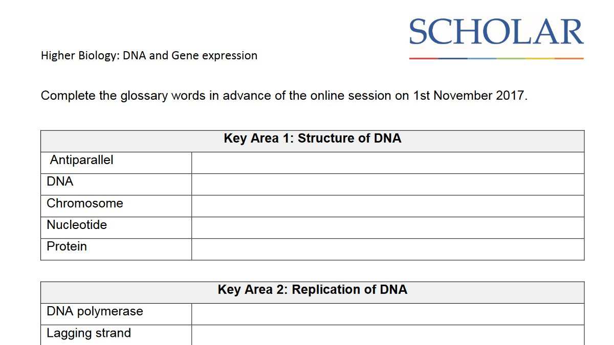 SCHOLAR SCHOLARuk – Gene Expression Worksheet