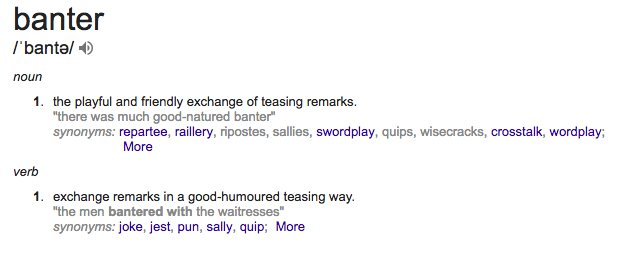 Playful banter definition