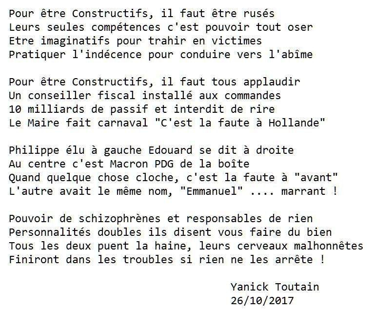 #PetitPoème sur #Constructifs #Macron #EdouardPhilippe #LREM par #YanickToutain<br>http://pic.twitter.com/K8uPgWjg7Y