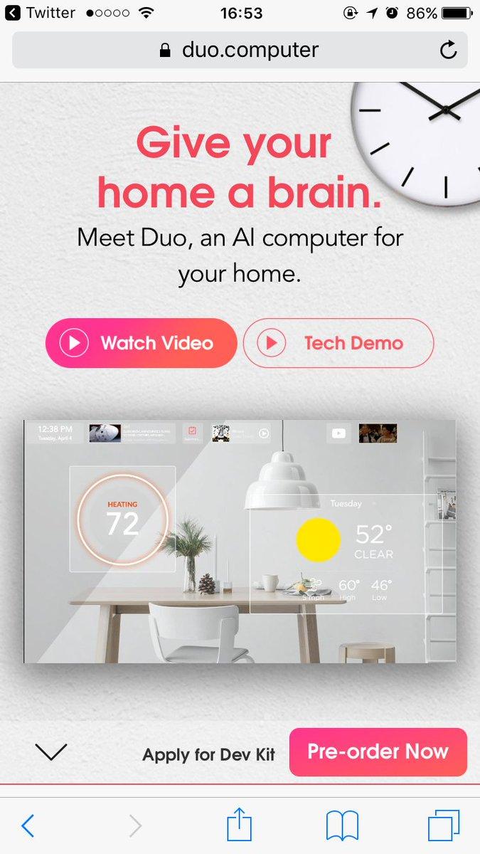 家庭用智能助手,乞丐版 Jarvis // Duo | An AI computer for your home. https://t.co/5NZgS26kgp https://t.co/VcE06kPvpr 1