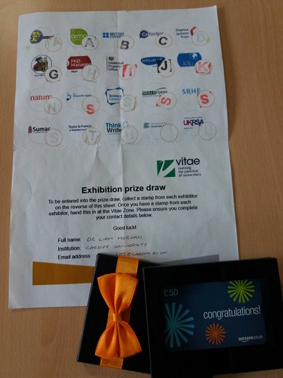 £50 voucher been dispatched to Dr Liam Morgan @cardiffuni for exhibition prize draw at Vitae Researcher Development Int. Conf 2017 #vitae17 <br>http://pic.twitter.com/DebpQDG3zZ