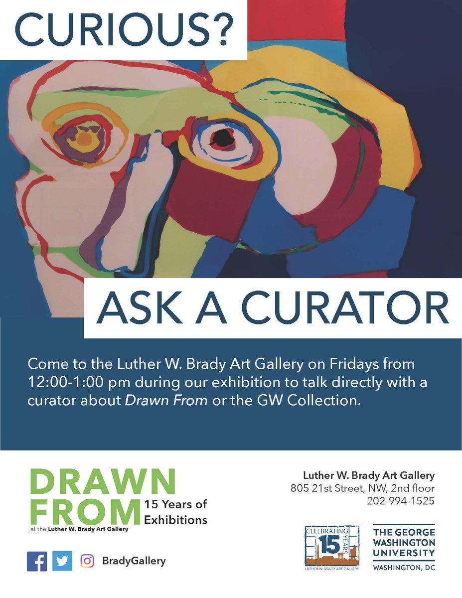 #AskACurator at the Brady Art Gallery is from 12-1 pm. Come by Fridays during #DrawnFrom to ask your ?s. #GWToDo #GWU #GWPC #GWU<br>http://pic.twitter.com/wR3bQm1RZr