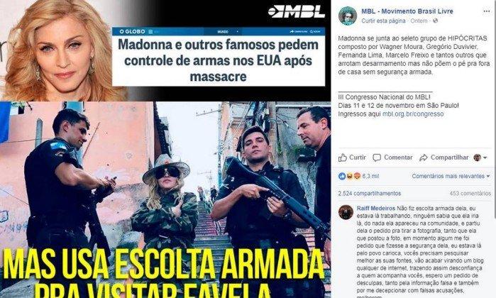 Post do MBL sobre suposta escolta de Madonna é desmentido por policial https://t.co/vROMCvBCqI