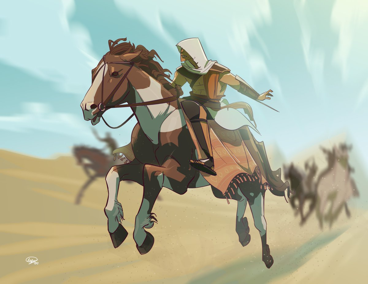Megan Huang On Twitter Quick Drawing Of Bayek On A Horse For