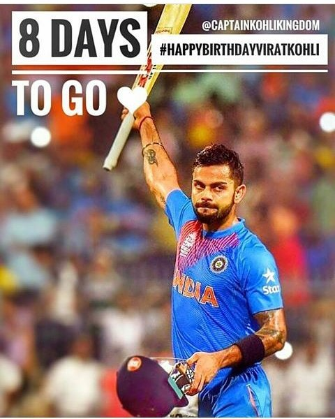 8 days to go for Virat Kohli\s happy wala birthday  We all r waiting for this day