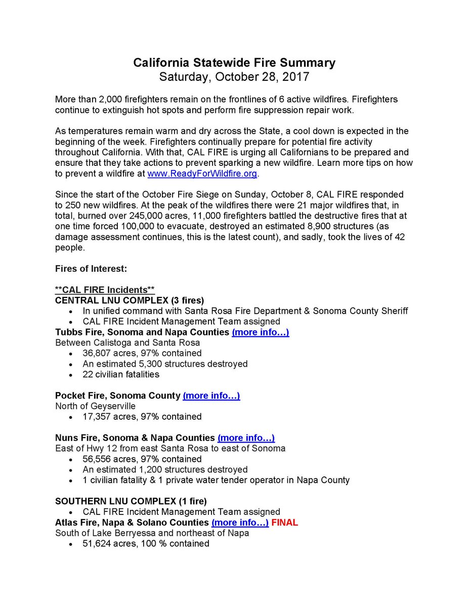 CAL FIRE PIO CALFIREPIO – Fire Incident Report
