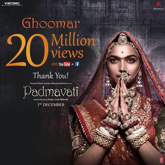 20 Million views & counting!Thank You for the love!🙏 #Ghoomar #Padmavati #SLB @ranveersingh @shahidkapoor https://t.co/9QnhnLuO0o