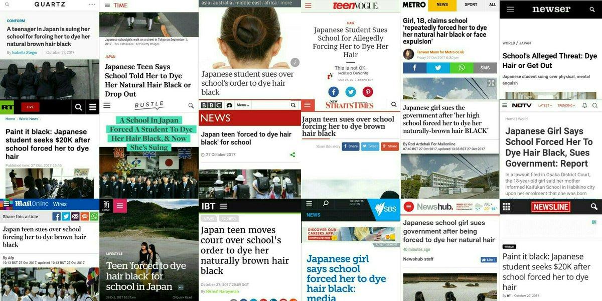 生まれつき頭髪が茶色の高3女子生徒に対し黒く染めるよう強要し、不登校にまで追い込んだ高校、提訴された大阪府。モラル云々依然に、もはや意味がわからない次元の話として世界中で報じられている。日本の学校当局は時代錯誤の甚だしい価値観を子どもに押し付け、傷付けているということを知るべき。