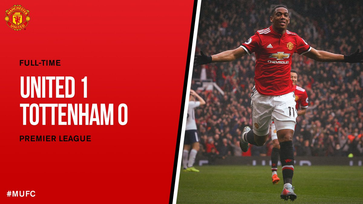 FT: #MUFC 1 Spurs 0.   @AnthonyMartial's late strike secures a big win! #MUNTOT