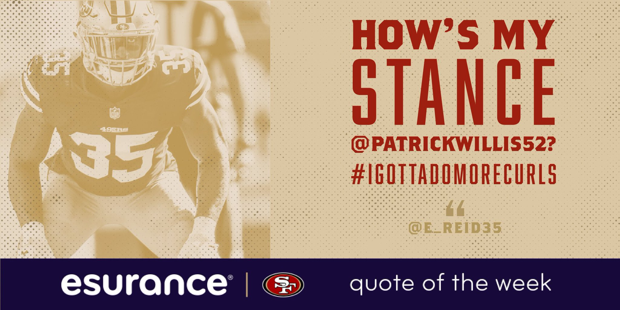 "Esurance Quote San Francisco 49Ers On Twitter ""ereid Is Embracing His New Role"