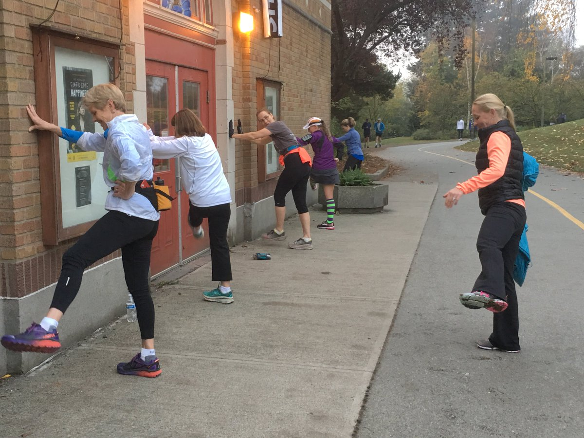 Getting warmed up before our Fall 5K fun run. A perfect – if foggy – day to go fast and have fun!