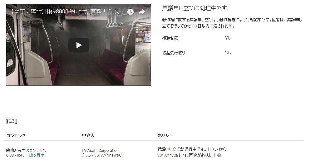 自分の動画なのに、テレビ朝日の著作権に引っかかりました(^_^;)