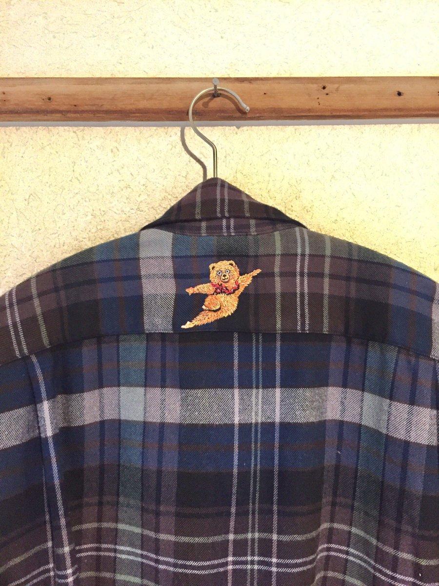 旦那のシャツにボストンバレエ団の熊をこっそり刺繍してみた