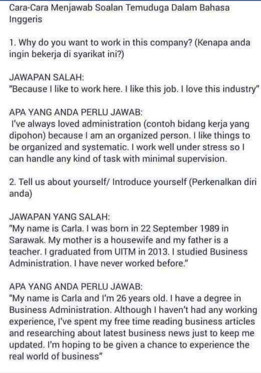 Kosiswa Uitm Selangor Berhad On Twitter Tips Menjawab Ketika Temuduga Sumber Fb