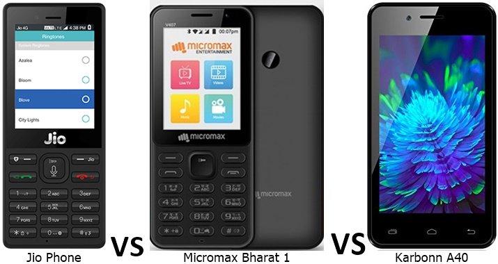 Compare Jio Phone vs Karbonn A40 vs Bharat 1 Specs Features Price https://t.co/b8SkuZoMhH  #JioPhone #Bharat1 #Airtel #BSNL #Micromax #4G https://t.co/PUxEVulotw