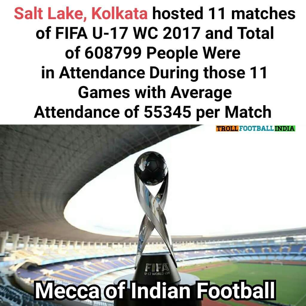 45% of the total attendance @ #SaltLakeStadium in #FifaU17WorldCup ! Awesome! @IndSuperLeague Home of @WorldATK<br>http://pic.twitter.com/zF84iezdxc