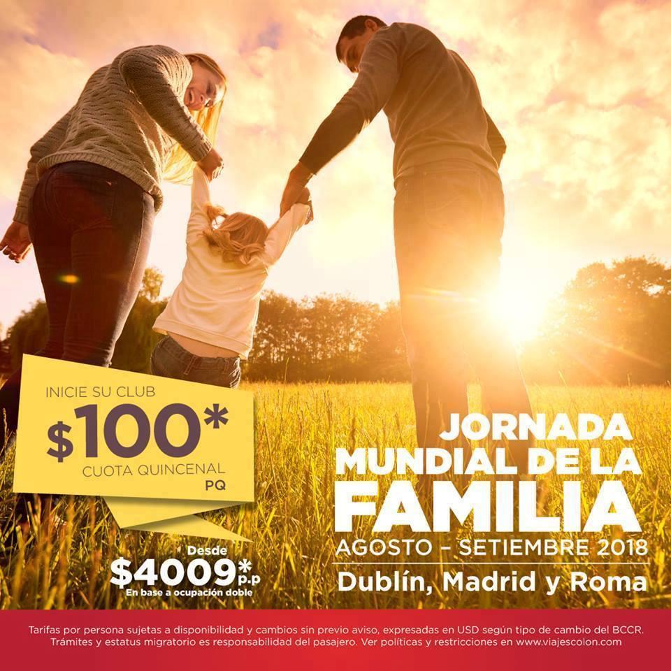 La Jornada Mundial de la Familia le espera en #Europa desde $100* cuota quincenal con su club de viajes.   2547-2400 / ventas@colon.cr https://t.co/AL8DLP1Dpq