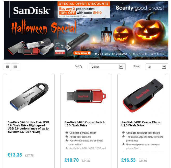 Halloween special on @SanDisk flash memory  http:// ow.ly/flGP30gcvlx  &nbsp;   #RT #Follow #Win Save Share plus  #MultiBuy any 2 Extra 10% off <br>http://pic.twitter.com/pg9F2raaqG