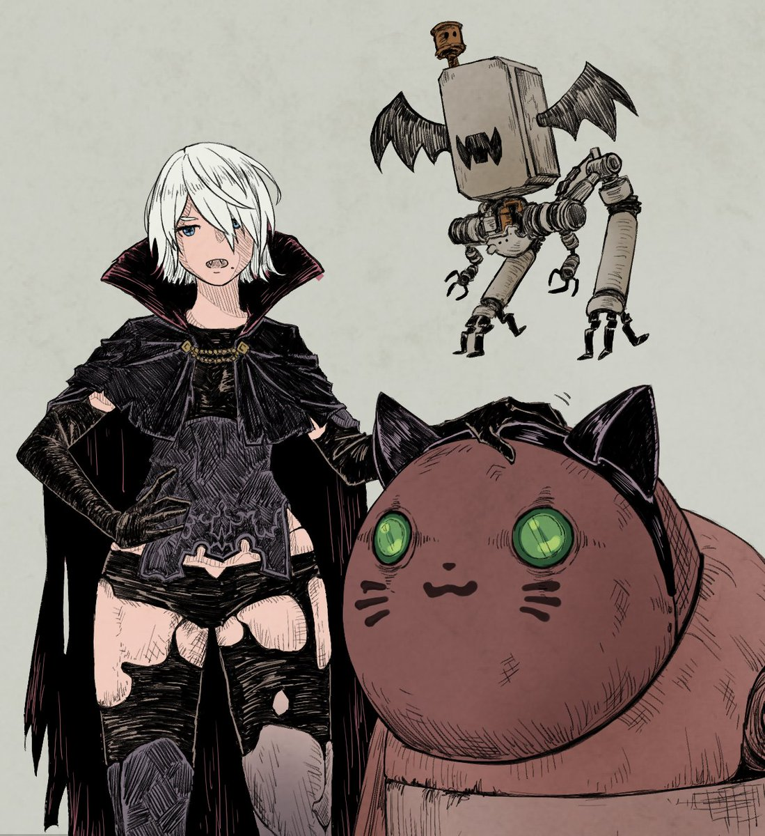 A In A Vampire Costume As She Pets A Cat Costumed Machine Child And Her