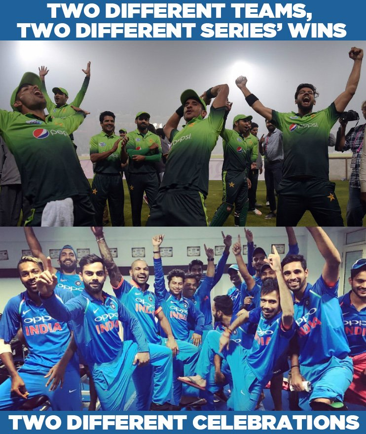 RT @Cricketracker: This is how Indian and Pakistan celebrated their respective series' wins. #INDvNZ #PAKvSL https://t.co/rPvHlNnsKb