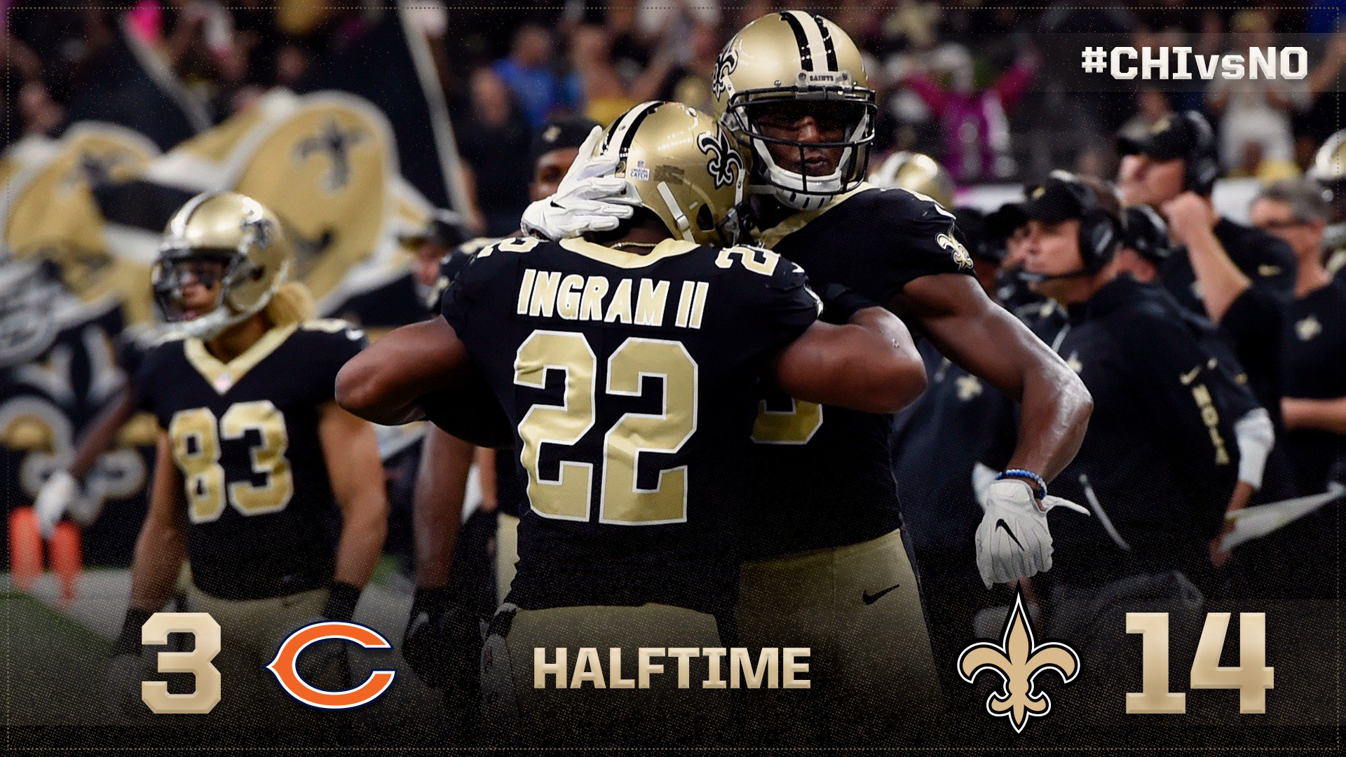 HALFTIME: #Saints on top at the break!   ��: https://t.co/3Ehw6vKOjD  #SaintsGameday | #CHIvsNO https://t.co/3d1heiuohR