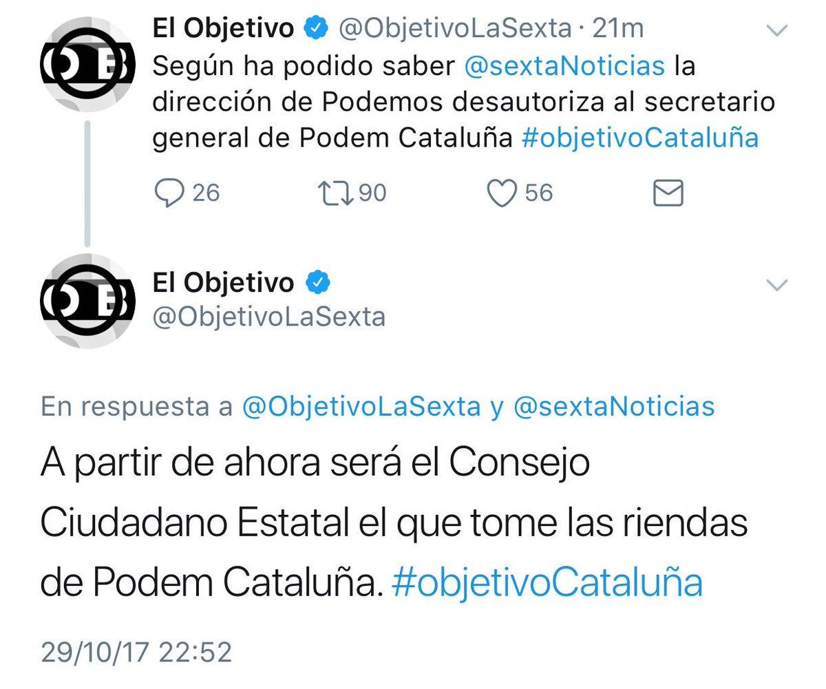 El artículo 155 llega a Podemos