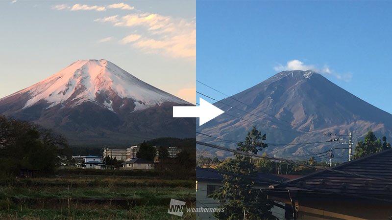 【台風一過で富士山の雪が消える、こんなことがあるんだ!】 weathernews.jp/s/topics/20171…