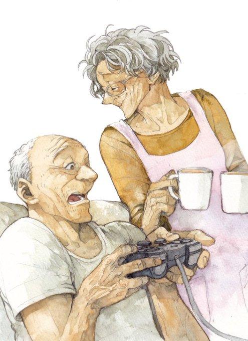 漫画家が透明水彩で描いたゲームをする老夫婦のイラストがほっこりし