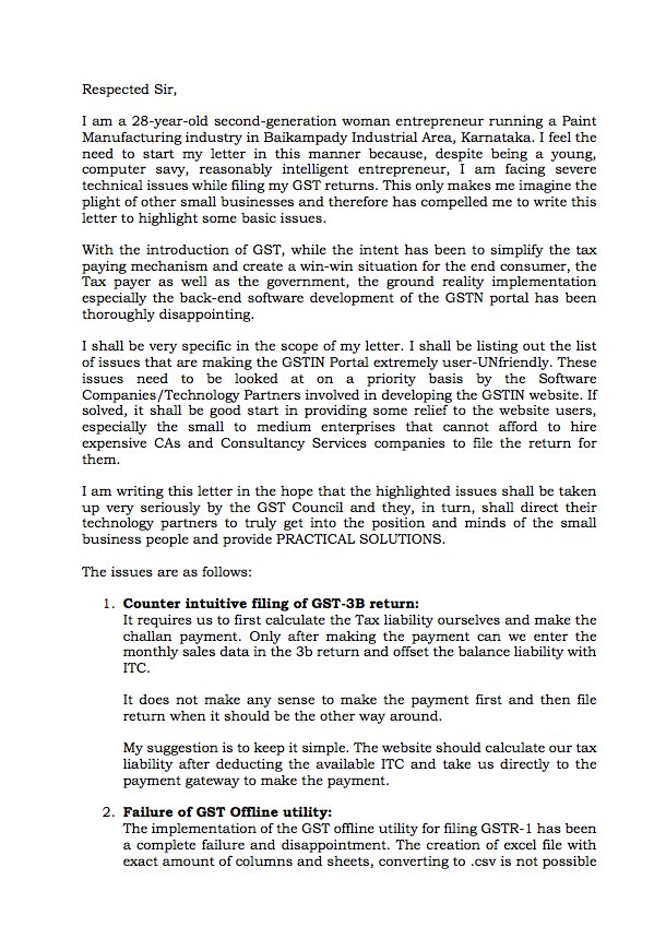 My Letter To GST Council And Adhia03 On The User Unfriendly Website Practical Issues That Need Solved AskGST GoIpictwitter EUy9SdlNOA
