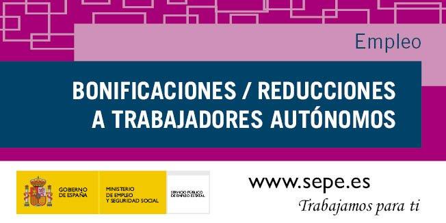 Resultado de imagen de GUÍA DE BONIFICACIONES/REDUCCIONES A LA SEGURIDAD SOCIAL A TRABAJADORES AUTÓNOMOS