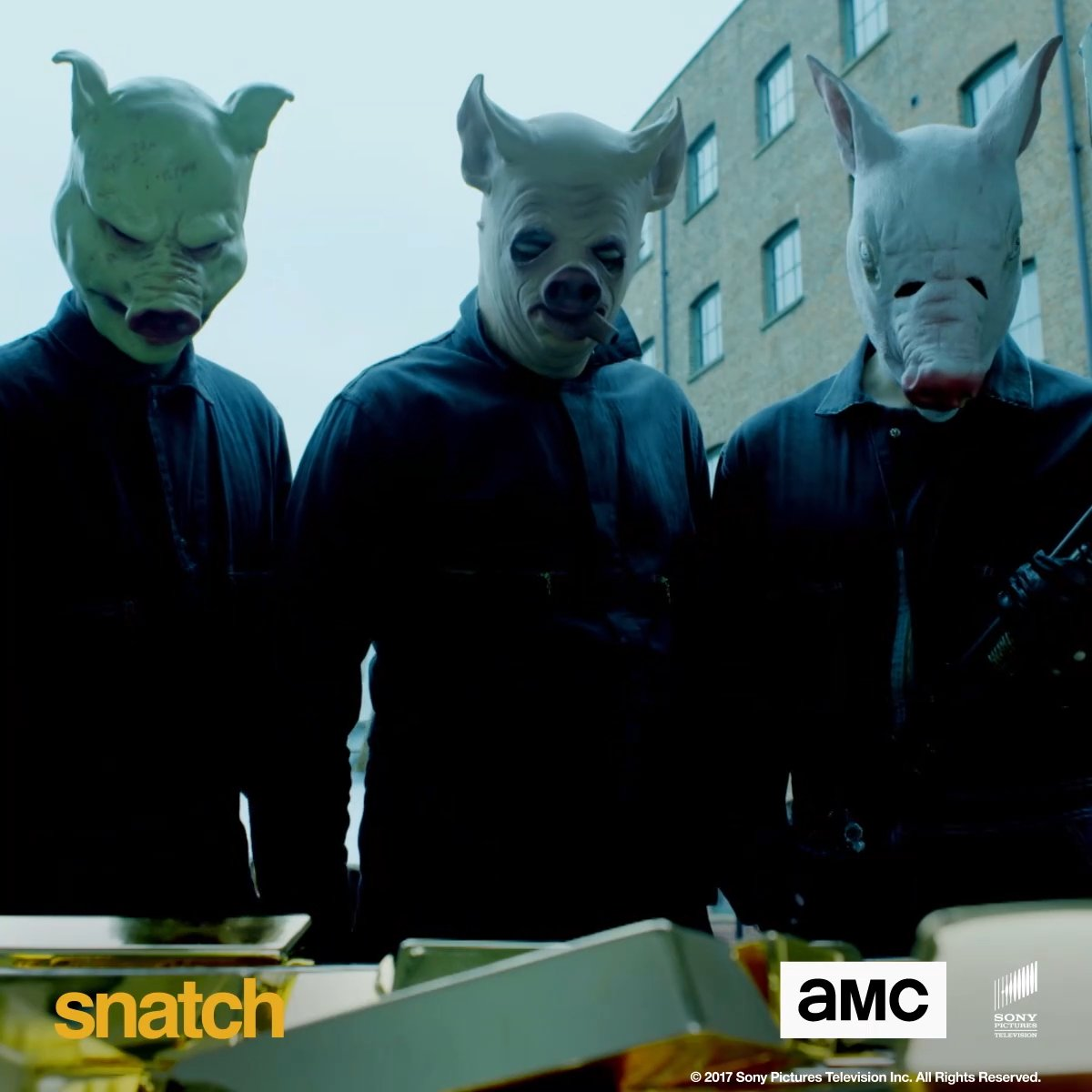 Happier than pigs in mud! 🐷 Crime-comedy series #Snatch starts tomorrow at 10pm on AMC.